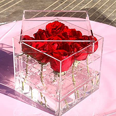 Gaoominy Nouveau Mode Acrylique Transparent Rose Flower Box Maquillage Organisateur Outils cosmetiques Porte-Fleurs Boite-Cadeau pour Femme Petite Amie avec Couvercle