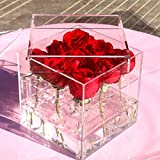 SODIAL New Fashion Clear Acrylic Rose Flower Box Makeup Organizer Cosmetic Tools Holder Flower Gift Box For Girlfriend Woman With Cover