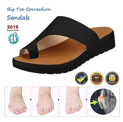 Sandalias de Mujer cómodos Plataformas Plana Charol Zapatillas Corrector de juanetes ortopédico Casuales Antideslizante Respirable Zapatos