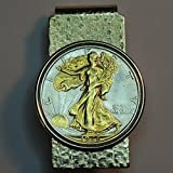 Old  U.S. Walking Liberty half dollar - Gorgeously 2-Toned (Uniquely Hand done) Gold on Silver coin Hinged money clip for men for dad Christmas groomsmen birthday for him for women