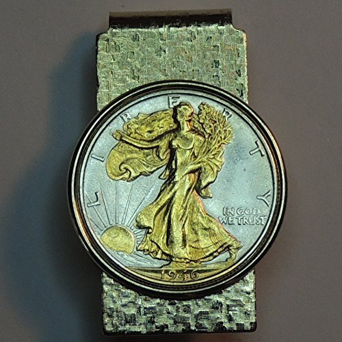 Old U.S. Walking Liberty half dollar - Gorgeously 2-Toned (Uniquely Hand done) Gold on Silver coin Hinged money clip for men for dad Christmas groomsmen birthday for him for women by J&J Coin Jewelry