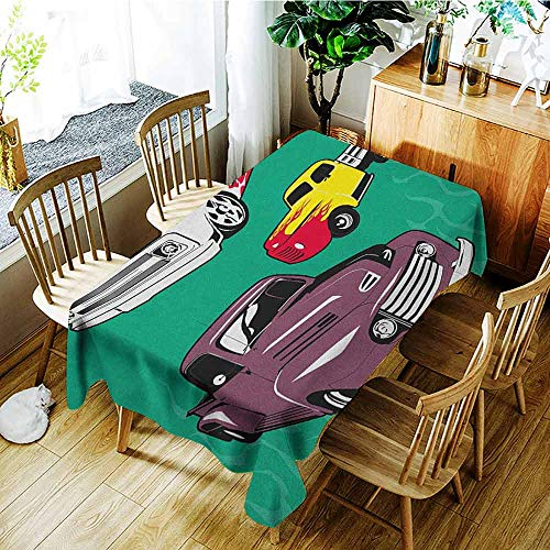 XXANS Custom Tablecloth,Truck,Colorful Vintage Pickups and Flatbed Flame Motif in The Hood Retro Vehicle Design,Party Decorations Table Cover Cloth,W60X102L -