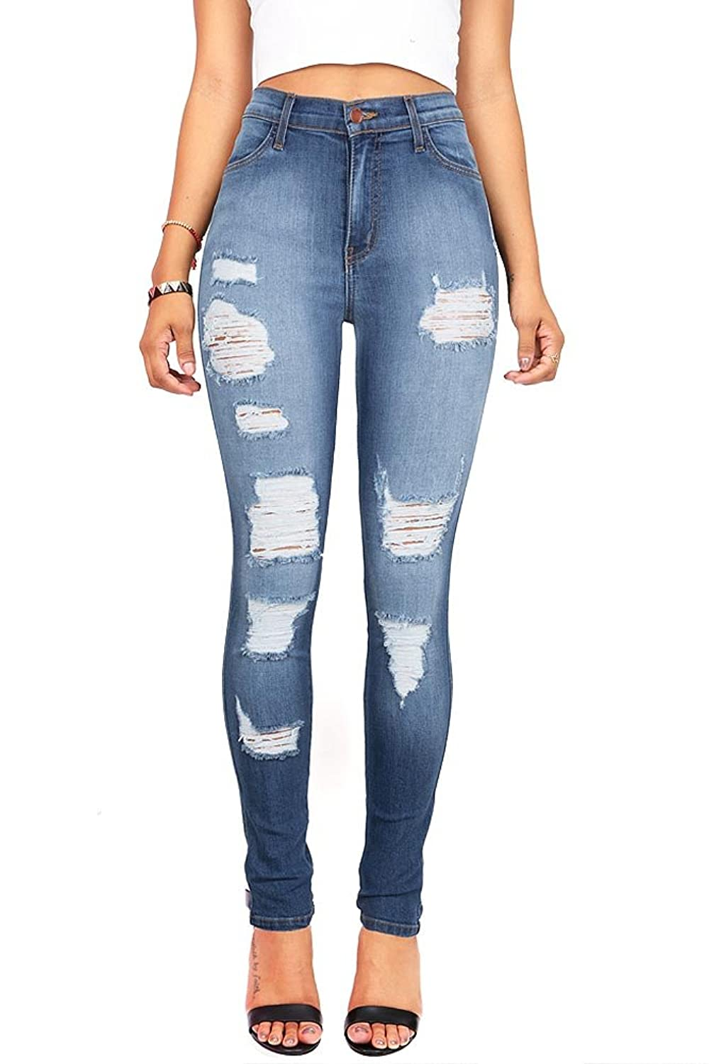 Vibrant Women's Juniors High Rise Distressed Skinny Jeans