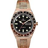 Timex 38 mm Q Timex Black/Brown 3-H Rose Gold Case Black Dial Rose Gold Bracelet