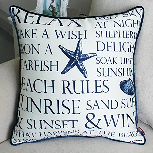 "Mixinni Home Decor Design Ocean Theme Seashell 18"" x 18\"" Square Shape-ocean-beach-print Cotton 1 Pack Throw Pillow Case With Hidden Zipper Closure"