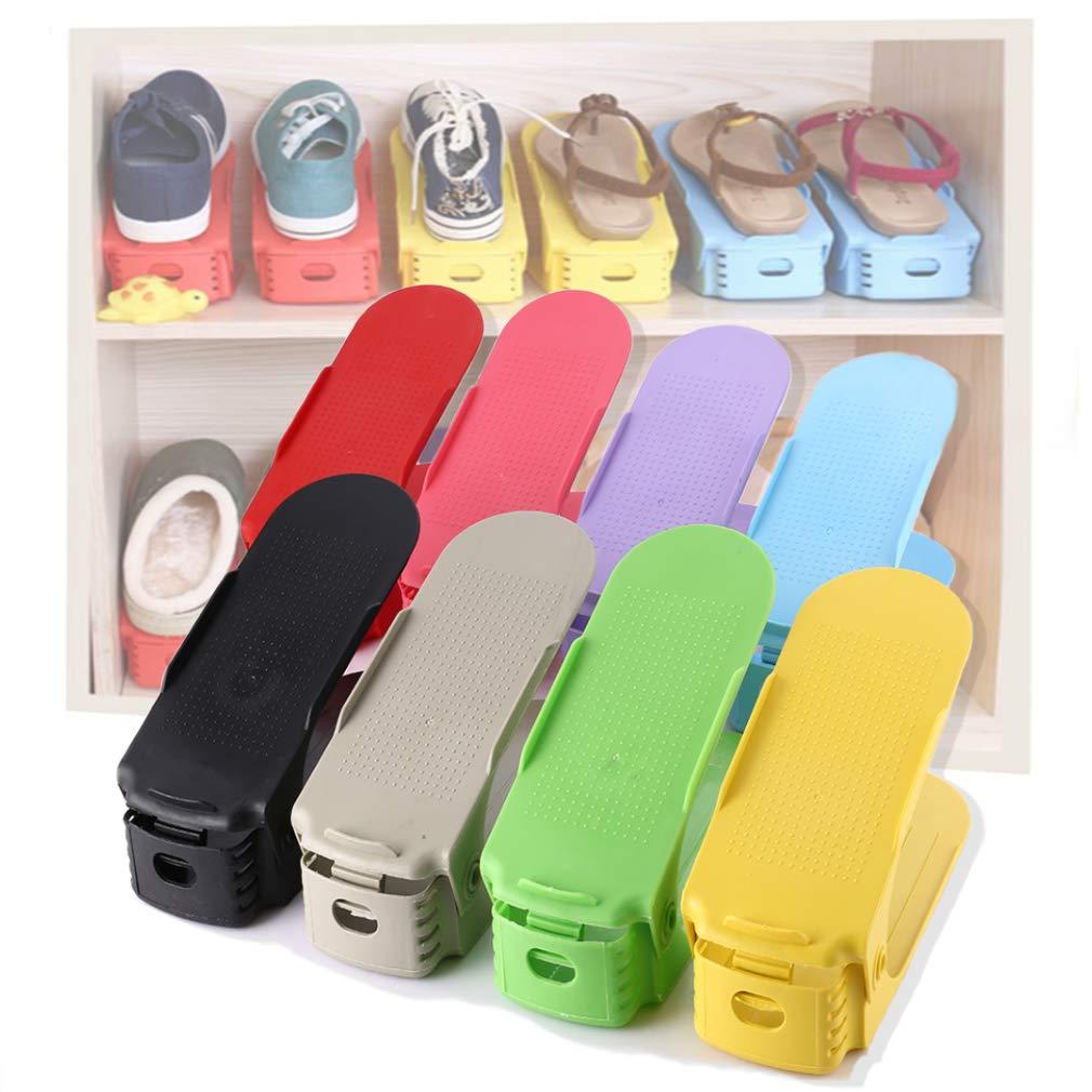 Soporte de Calzado con Organizador de Zapatos Ajustable de Ranuras, 8PCS Plástico Juego de Zapatos para Ahorro de Espacio de Almacenamiento de Zapatos (Colorful)