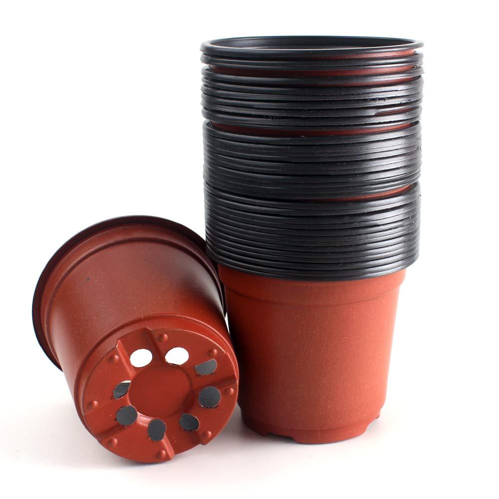 ZICOME Plastic Seedlings Starter Nursery Pots Starting Seeds Transplanting Plants, 4-Inch (50 Pack)