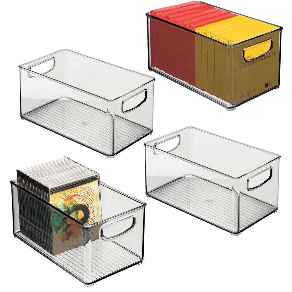 """mDesign Stackable Plastic Storage Bin Container with Handles for Home Office - Holds Gel Pens, Erasers, Tape, Pens, Pencils, Markers, Notepads, Highlighters, Staplers - 5"""" High, 4 Pack - Smoke Gray"""