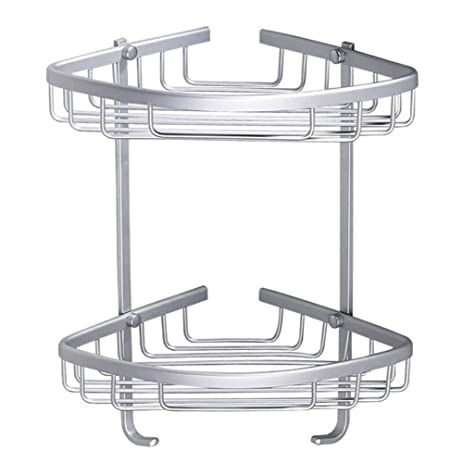 Amazon.com: Kamanqi 2 Tier Premium Corner Aluminum Shelf Storage ...