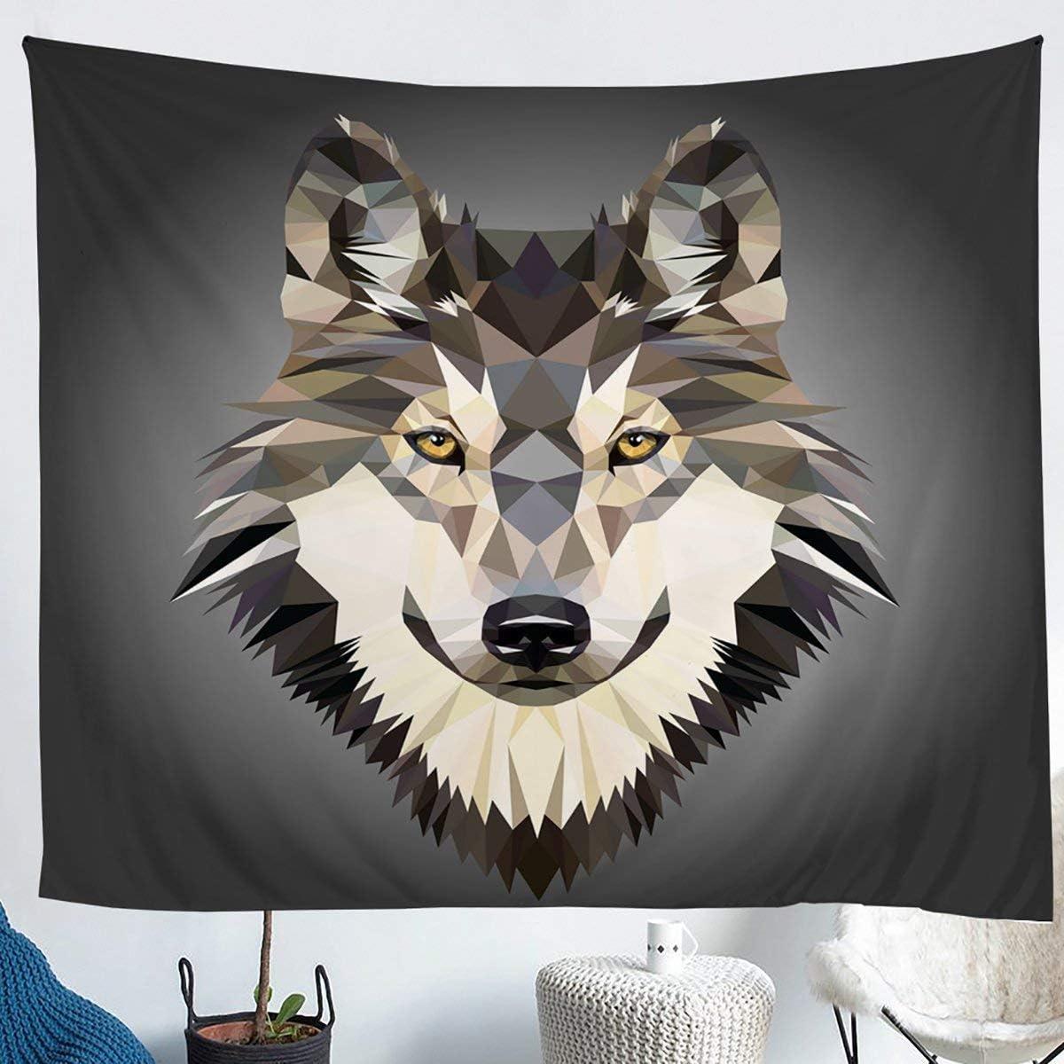 Erosebridal Cartoon Wolf Head Wall Hangings Geometric Triangle Tapestrues Africa Wildlife Animal Tapestry Grey Tapestries for Kid Boy Men, Decor Window Curtain, for Living Room