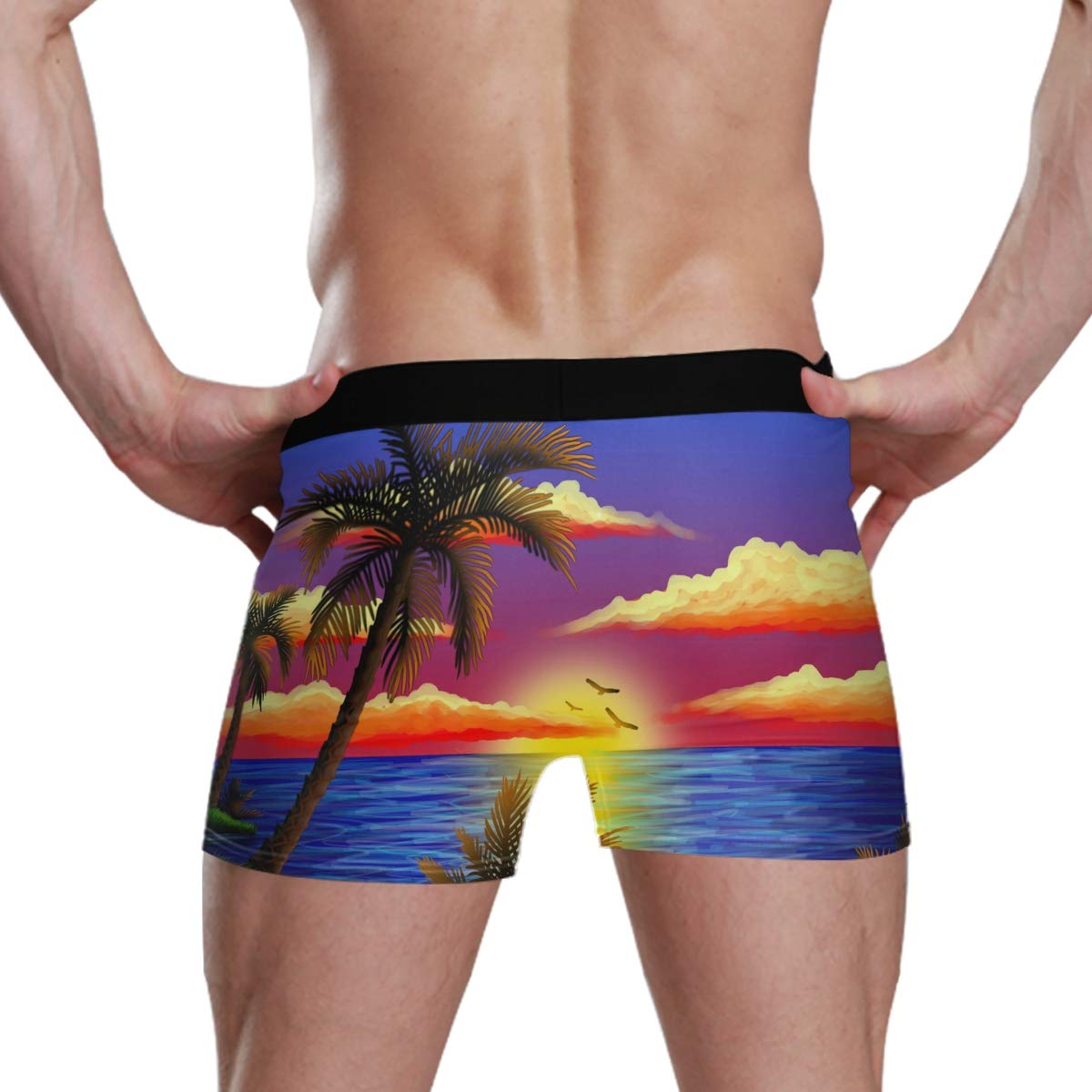 Drawings of Scenery Sunset Mens Boxer Briefs Underwear Comfortable Breathable Tagless Short Leg Boxers Brief