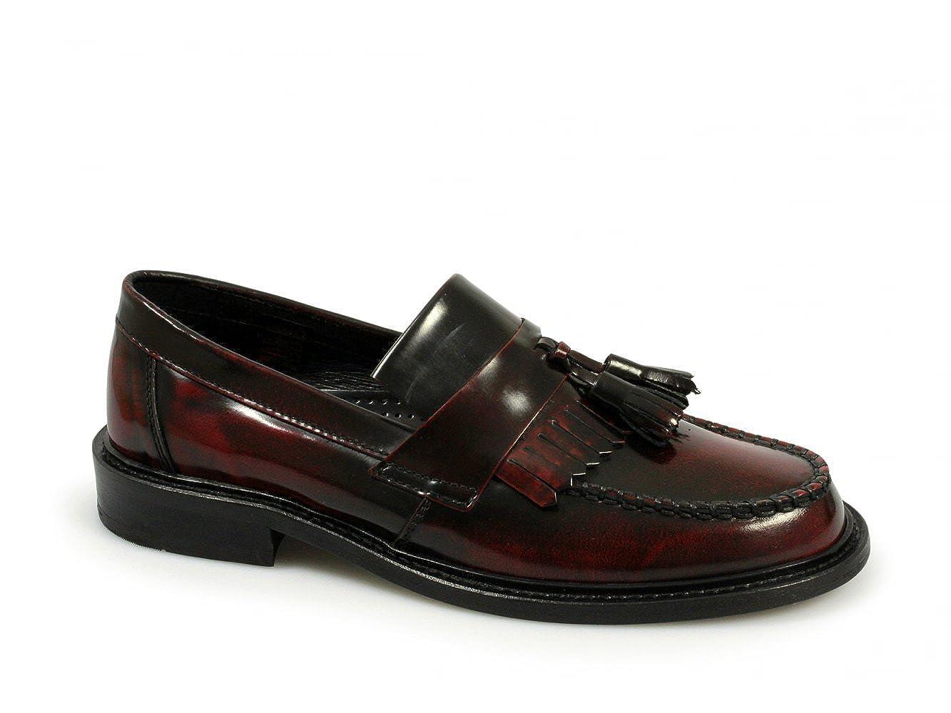 6c35bcf4e0438 Ikon SELECTA Mens MOD Skinhead Polished All Leather Tassle Loafers Oxblood  Red