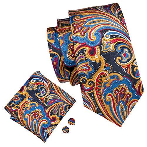 (Yellow Designer Tie Set For Men Silk Handkerchief Cufflinks Woven)