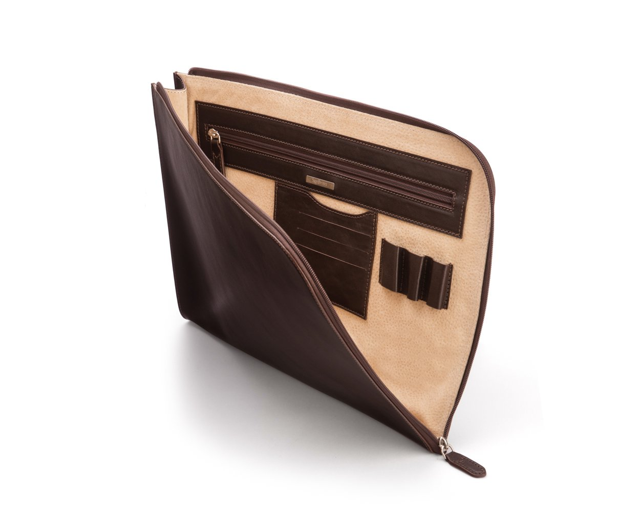 SAGEBROWN Brown Rustic Zip Around Folder
