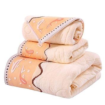 BAOLIJIN Bath Towels Set Juego de 3 Toallas de baño absorbentes de algodón Patrón Toallas de Mano Set de Toallas de baño (Color : Yellow): Amazon.es: Hogar