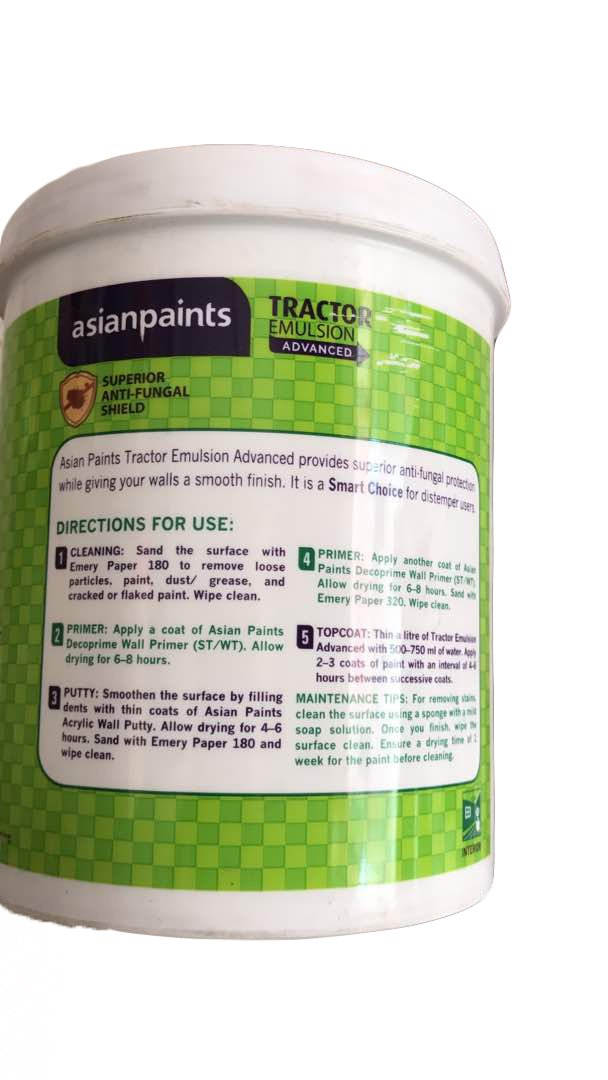 Asian Paints Tractor Emulsion Advanced White 1l Amazon In Home Improvement