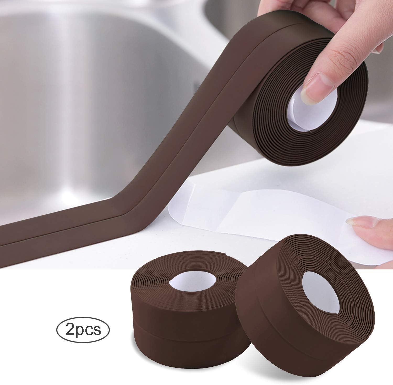 2 Rollos Cinta Baño Selladora, Impermeable PVC Autoadhesivas Cinta de Sellado para Coche,Bañera,Puerta,Ventana,Fregadero de Cocina (Marrón): Amazon.es: Bricolaje y herramientas