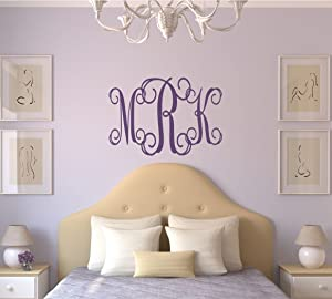 Lucylews Monogram Wall Decal Personalized Teen Dorm Room Decor 3 Letter Monogram