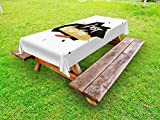 Ambesonne Just Breathe Outdoor Tablecloth, Brush Lettering About Peaceful Calm Life and Meditation with Artistic Look, Decorative Washable Picnic Table Cloth, 58 X 84 Inches, Multicolor