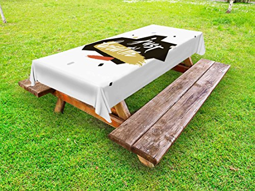 Ambesonne Just Breathe Outdoor Tablecloth, Brush Lettering About Peaceful Calm Life and Meditation with Artistic Look, Decorative Washable Picnic Table Cloth, 58 X 84 inches, Multicolor by Ambesonne