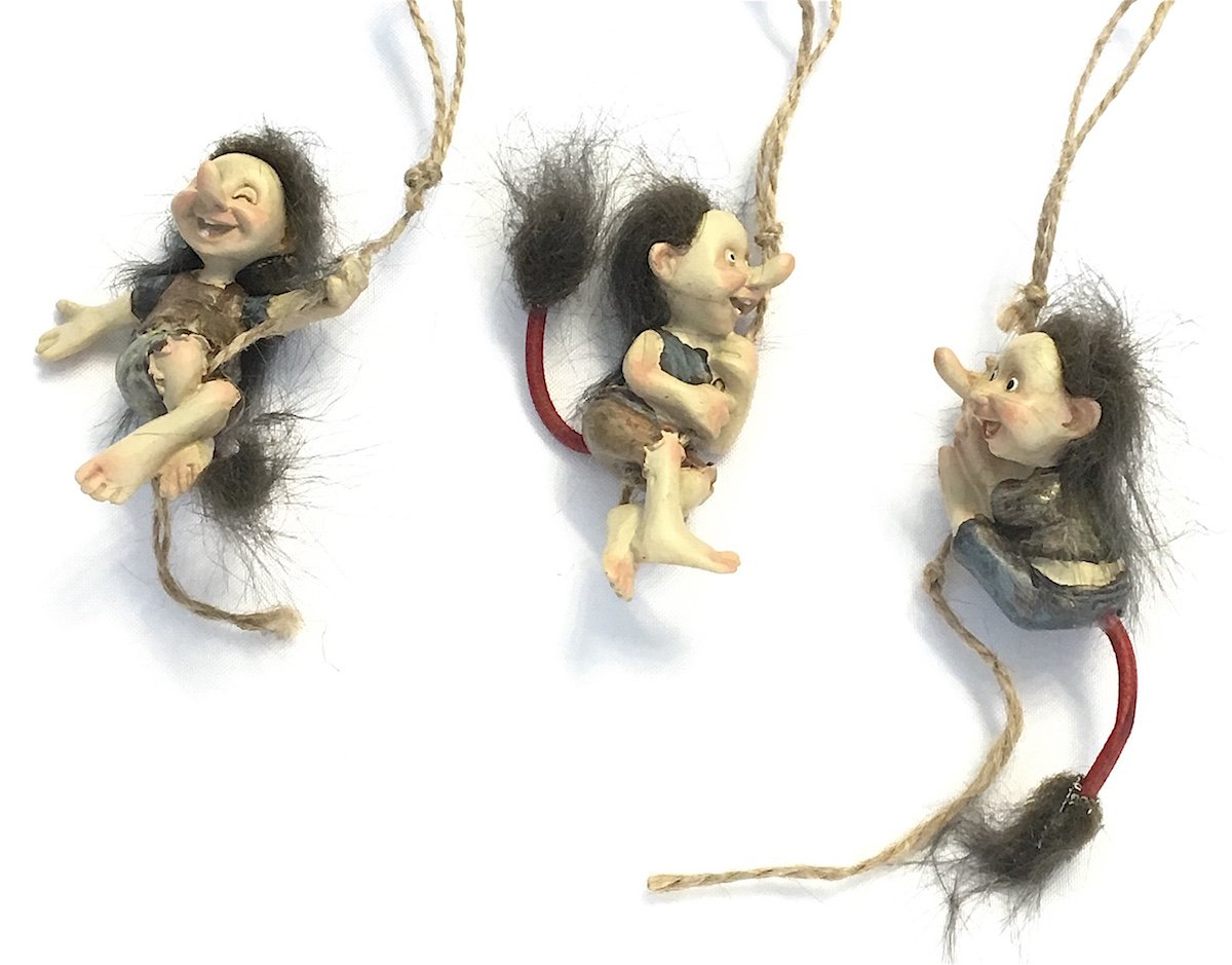Miniature Swinging Hairy Trolls, Set of Three Trolls for Indoor DIY Fairy Garden Decor by Midwest Design Imports (Image #2)