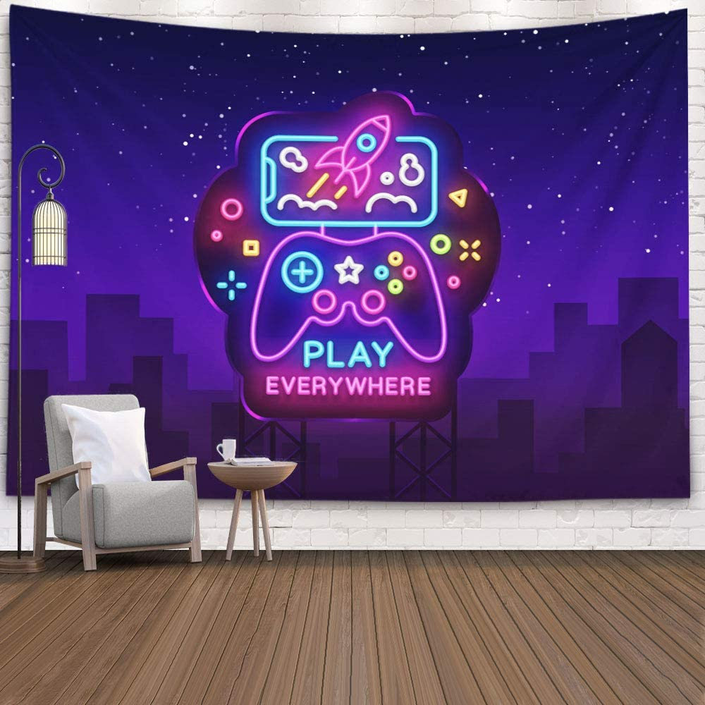 Crannel Tapestry Wall Hanging Gaming, Smartphone Neon Sign Games Tapestry 80x60 Inches Wall Art Tapestries Hanging for Dorm Room Living Home Decorative,Purple Black-4