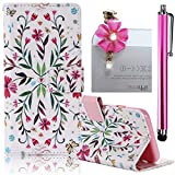 Huawei Ascend G7 Plus/ G8 Case, Boince 3 in 1 Accessory Book Style Magnetic Snap PU Leather Flip Wallet Case + [Diamond Antidust Plug] + [Metal Stylus Pen] Anti Scratch Shockproof Full Body Skin Cover Protective Bumper-Symmetrical Flowers