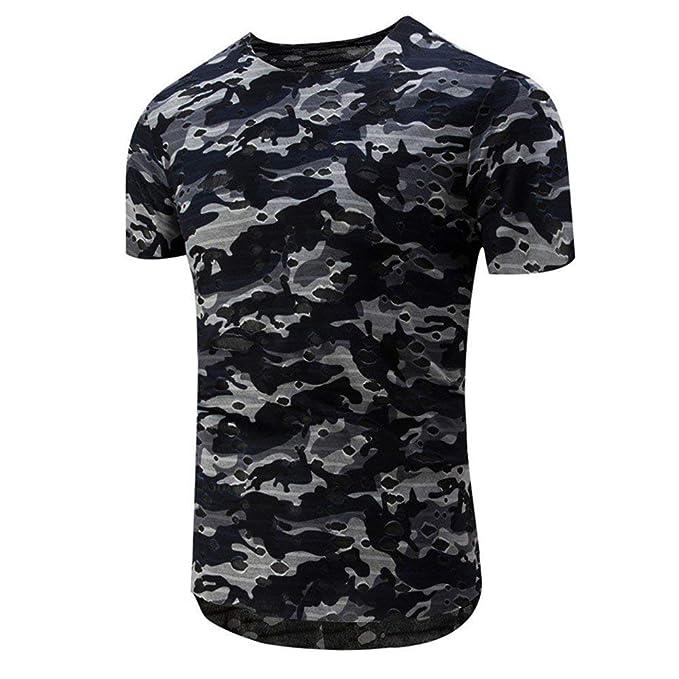 Camisa De Los Hombres De Verano De Manga Corta, Ropa Camisas De Ocio, Camiseta De Camuflaje De Moda Militar Cuello Redondo, Camisetas: Amazon.es: Ropa y ...