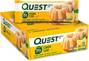 Quest Nutrition Lemon Cake Bar, High Protein, Low Carb, Gluten Free, Low Sugar - 12 Count