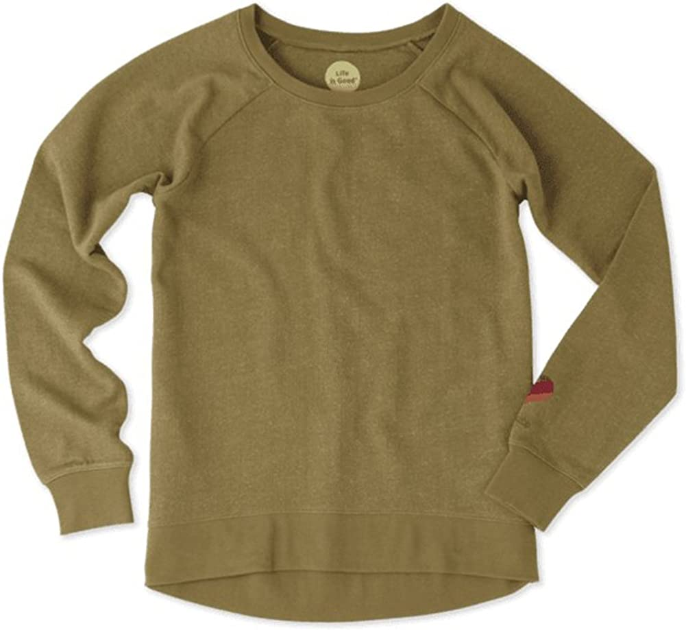 Life is good Women's French Terry Elliptical Crew Striped Heart Sweater, Woodland Green