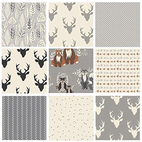 Gray Hello Bear Quilt Bundle | Black White Deer Fabrics | Forest Animal Quilt | Nursery Fabrics | Deer Heads Arrows | Art Gallery Fabrics (Fat - Nursery Fabrics