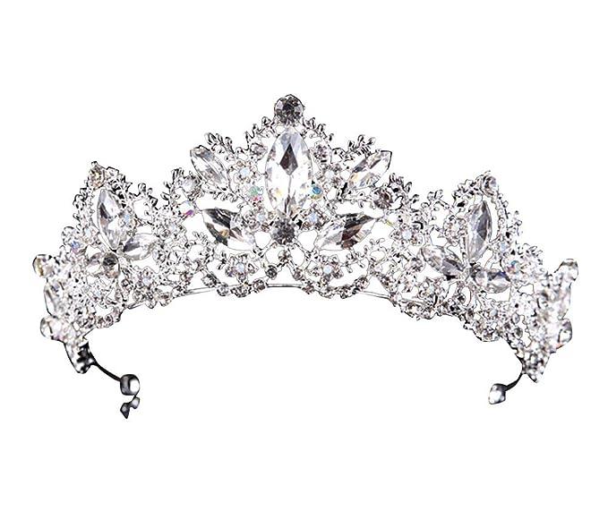 LaoZanA Donna Diadema da Sposa Regina Principessa Corona con cristalli Tiara  Nuziale Matrimonio Argento. Scorri sopra l immagine per ingrandirla 4d920dc07aa8