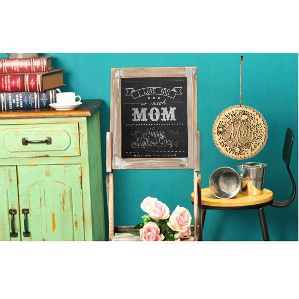Wooden Hollow Out Mum Hanging Board Round Circle Mother's Day Gift Plank Hanging Plaque Wall Wood Sign Craft Decor Pendant by sd finger (Image #2)