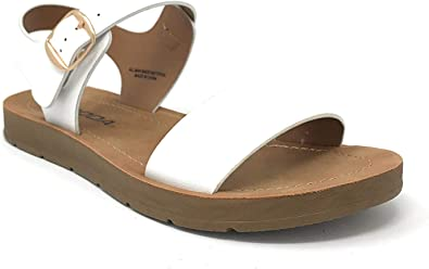 Soda Womens Strappy Flat Sandals (White