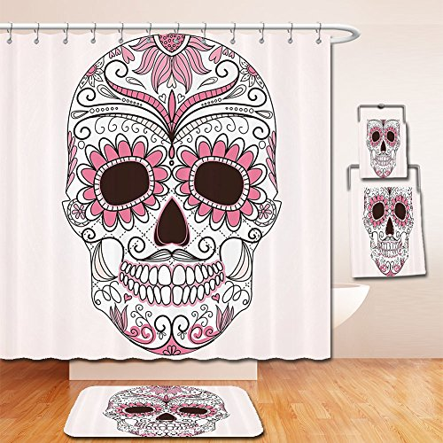LiczHome Bath Suit: Showercurtain Bathrug Bathtowel Handtowel SkullDecorations Collection Day of The Dead Girly Colors Skullith Floral Ornamental Design Polyester Fabric Pinkhite For Bathroom