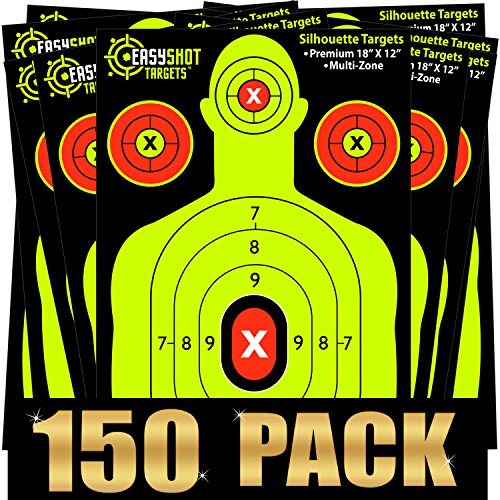 (150-Pack Shooting Targets, High-Contrasting Yellow & Red Colors Make it Easy to See Your Shots Land, Heavy-Duty Silhouette Paper Sheets - 150 Free Repair Stickers, Close to Wholesale)