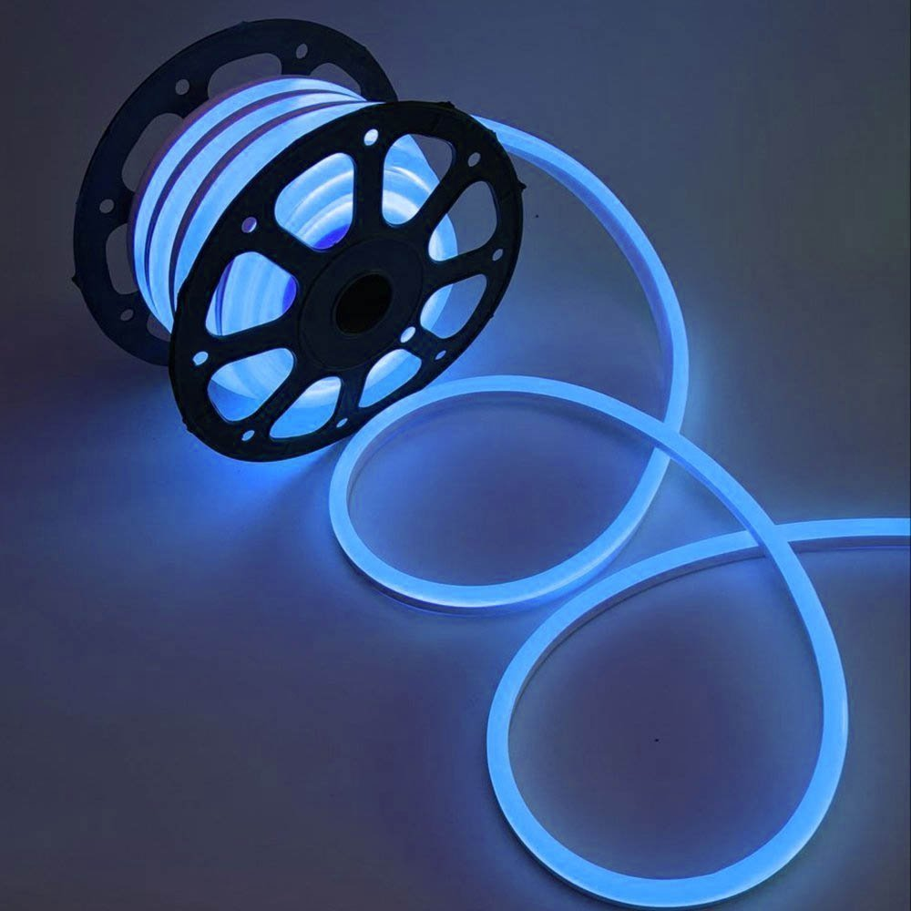 WYZworks Blue Flexible Water Resistant Soft Single Side LED Neon Rope Light Strip Bar 150FT