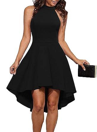 2892b1d3a THANTH Womens Dresses Halter Neck Sleeveless Backless High Low Cocktail Skater  Dress Black S