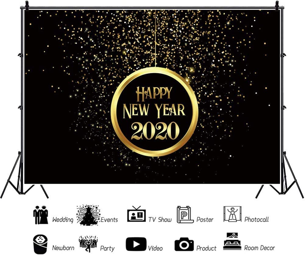 Happy New Year 2020 Vinyl Photography Backdrop 5x3ft Merry Christmas Black Background Golden Circular Ring Glitter Sparkles Bokehs Carnival Holiday Party Festive Family Photo Prop Decor