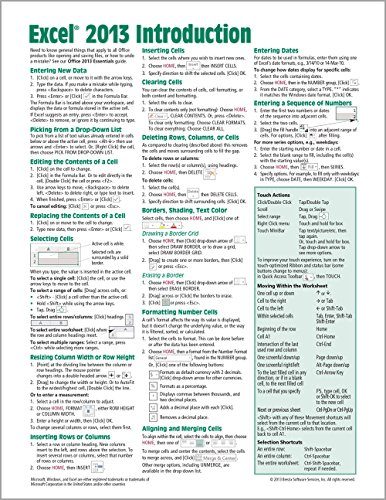 Microsoft Excel 2013 Introduction Quick Reference Guide (Cheat Sheet of Instructions, Tips & Shortcuts - Laminated C