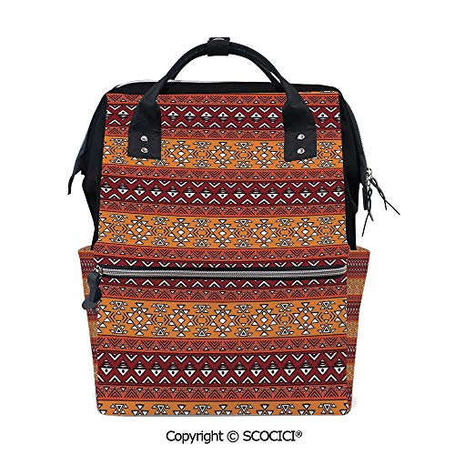 (SCOCICI Travel Backpack Large Diaper Bag,Maya Inspired Horizontal Esoteric Latin Inspired Geometric Pattern Print Decorative,with Wide Style Top Opening )
