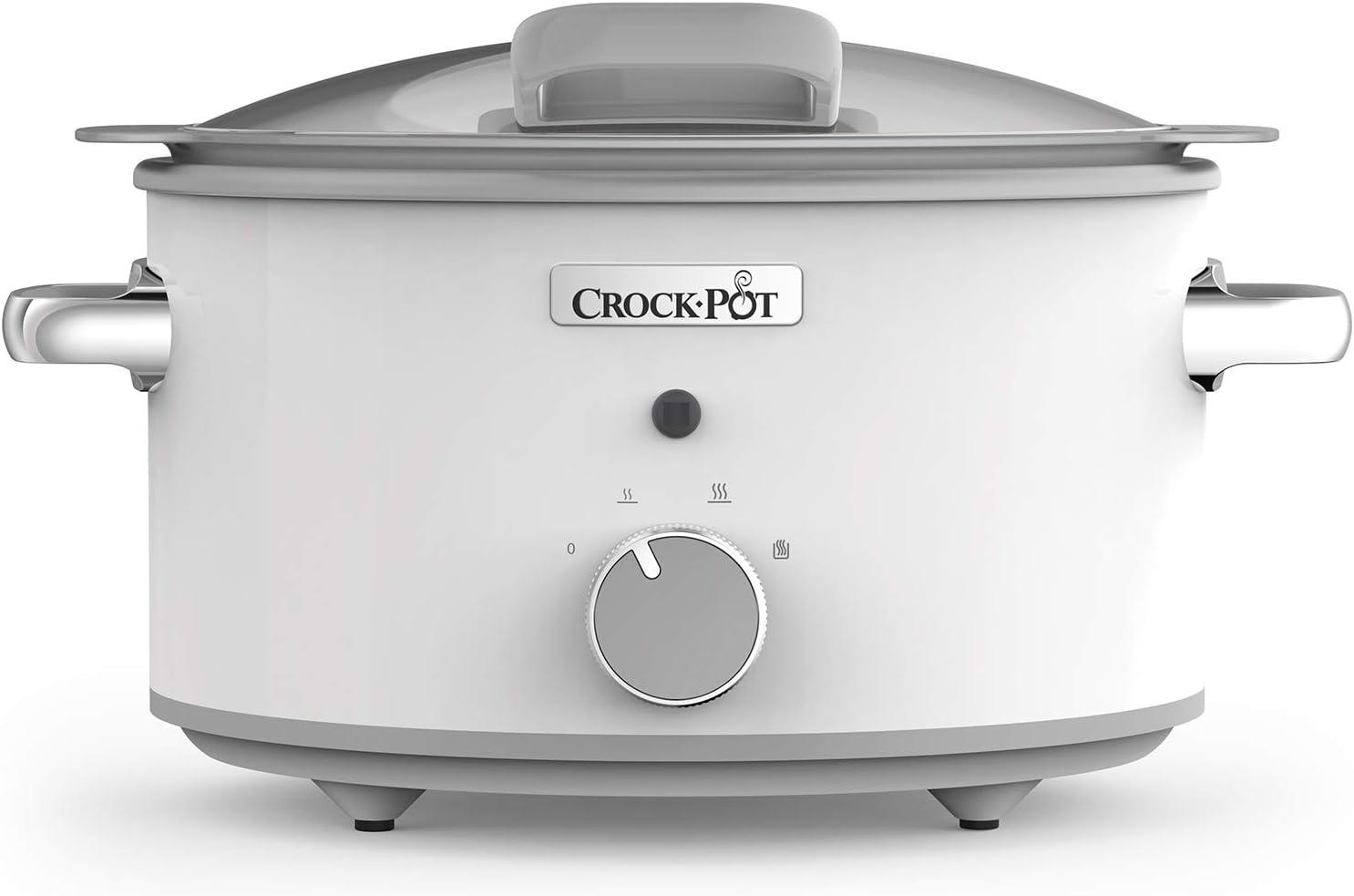 Crock-Pot CSC038X DuraCeramic - Olla de Cocción Lenta Manual con Tapa Abatible, Recipiente Compatible con Fuego e Inducción, para Preparar todo Tipo de Recetas, 4.5 litros, Acero Inoxidable, Blanco: Amazon.es: Hogar