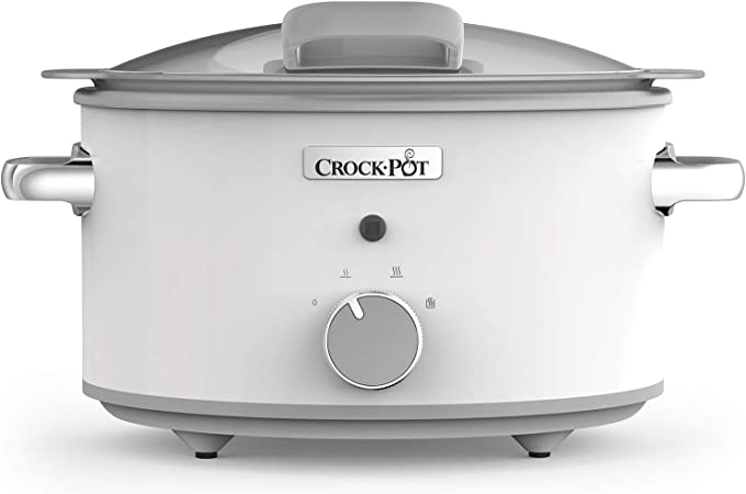 Comprar Crock-Pot CSC038X DuraCeramic - Olla de Cocción Lenta Manual con Tapa Abatible, Recipiente Compatible con Fuego e Inducción, para Preparar todo Tipo de Recetas, 4.5 litros, Acero Inoxidable, Blanco