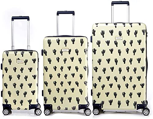 Lucky Planet Cactus Pattern Print Hard Case Luggage Set – 21 26 30 inch