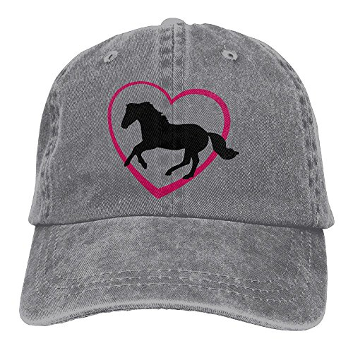 Unisex Galloping Horse With Heart Jeanet Baseball Cap Adjustable Sunbonnet For Men Or Women