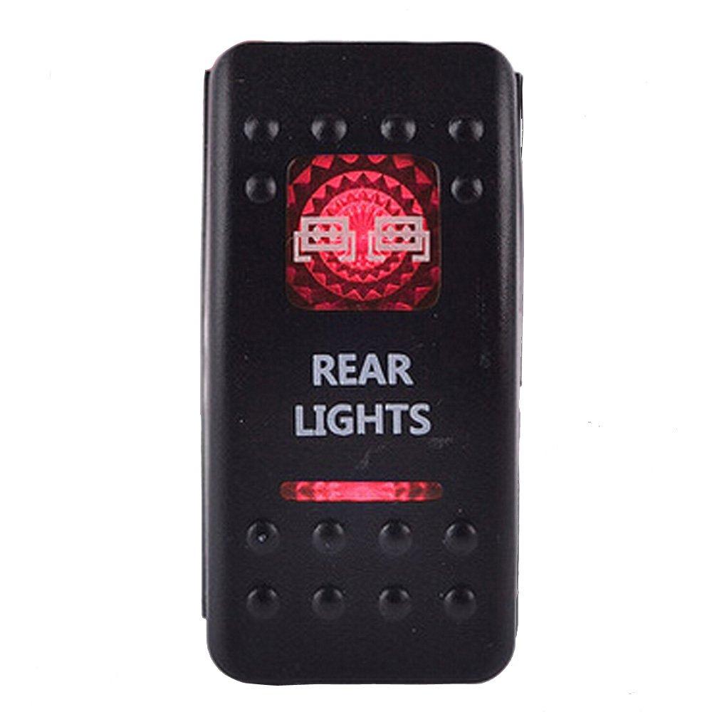 E Support™ 12V Auto KFZ Rot LED Lichtleiste Beleuchtet Wippenschalter Kippschalter Auto-Armaturenbrett Schalter Spot Light