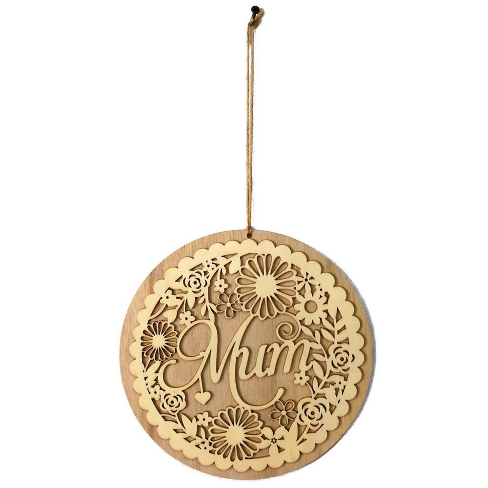 Wooden Hollow Out Mum Hanging Board Round Circle Mother's Day Gift Plank Hanging Plaque Wall Wood Sign Craft Decor Pendant by sd finger (Image #3)