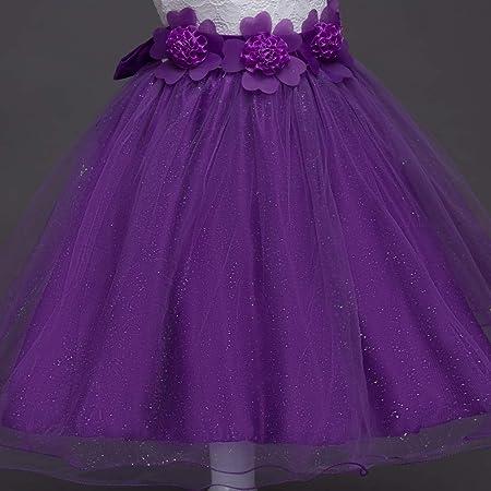Bambini Prom Ball Gown 3-15years Old ,Purple,130cm Partito Matrimonio Damigella dOnore Principessa Abiti Costume WJX Ragazza Vestito Senza Maniche in Rilievo Pizzo Fiore Gonna Pageant Abiti