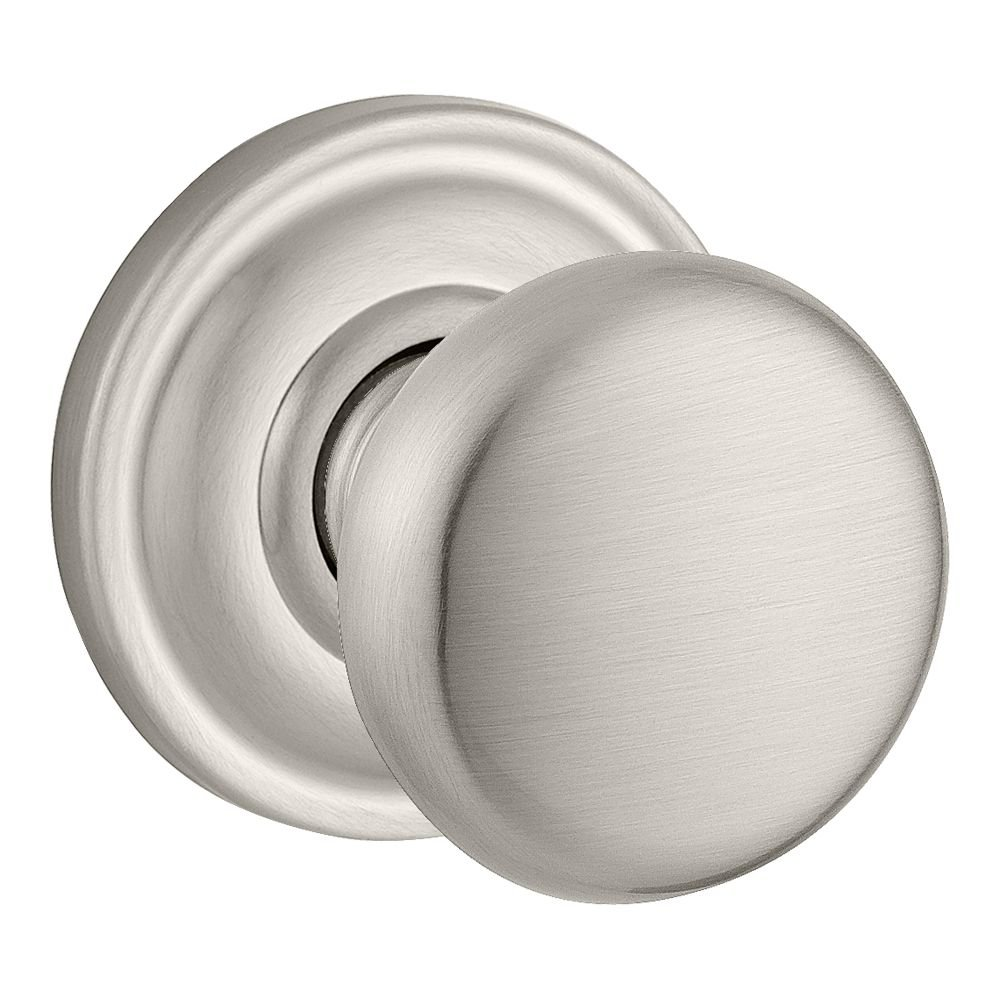 Baldwin PV.ROU.TRR.150.6L.DS Round Privacy Knob with Traditional Round Rose, Satin Nickel