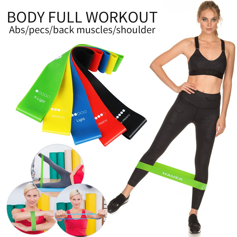 Yoga 2 Portable Core Sliders Gliding Discs and 5 Resistance Loop Exercise Bands Plus Carry Bag Perfect Home Low Impact Workout for Legs and Butt Pilates HAUEA Fitness Training Set